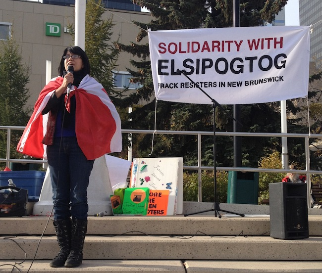Elsipogtog Support rally in Edmonton