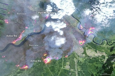 NASA satellite image of Fort McMurray fire