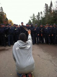 Amanda Polchies faced down by RCMP line at Elsipogtog