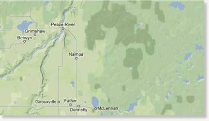 Map of spill area near Peace River, Alta.
