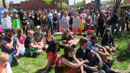 After speeches and music, rally goers marched throughout the Whyte Avenue area t