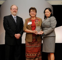 Elsey Gauthier (centre) received recognition for her tireless contributions from