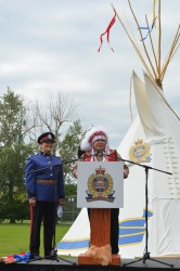 Papaschase First Nations Chief Calvin Bruneau with Cst. Lisa Wolfe