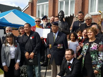 Unveiling of the monument to Second World War hero Charles Henry Byce