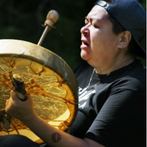 Drummer at First Nation's gathering